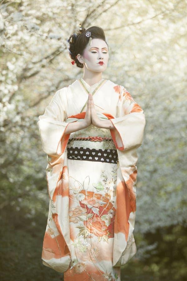 Geisha sovande royaltyfria foton