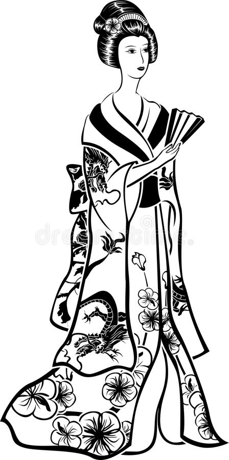 Geisha In Traditional Costume With A Fan Stock Vector