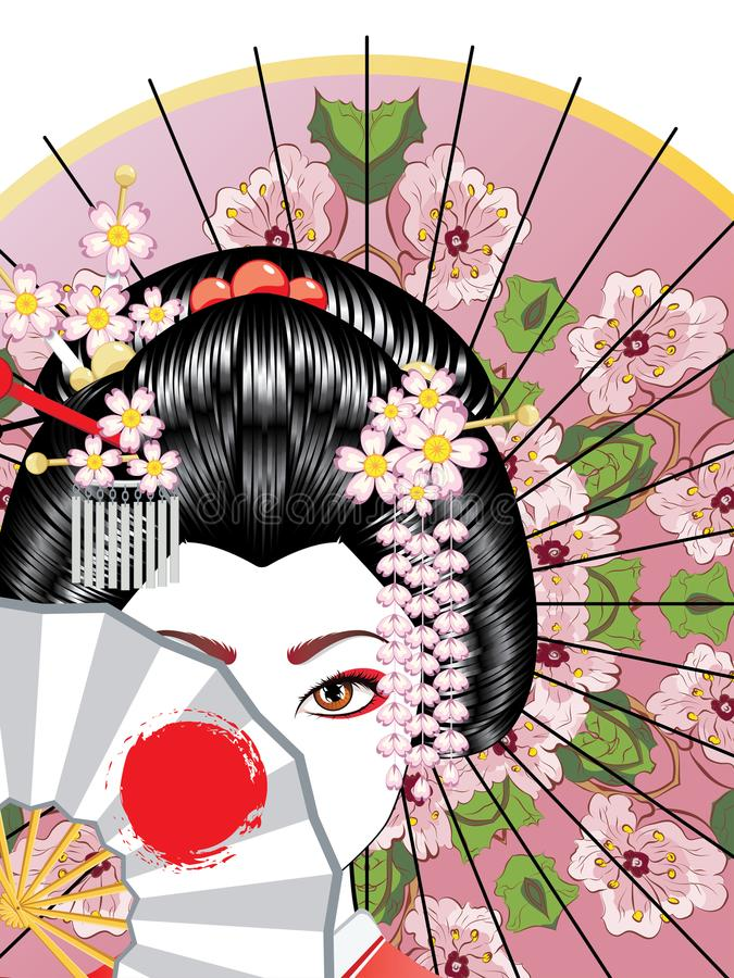 Free Geisha With Fan Stock Photo - 117201260