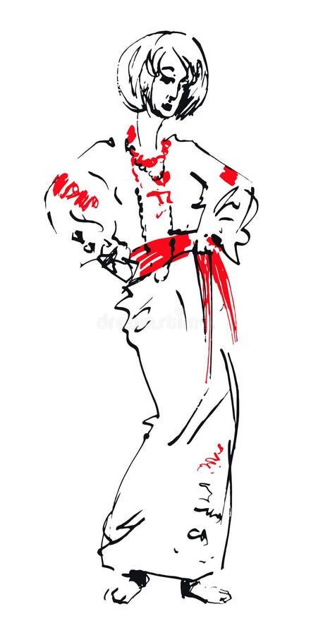 Geisha Woman ejemplo japonés de las muchachas Ilustración drenada mano del vector stock de ilustración