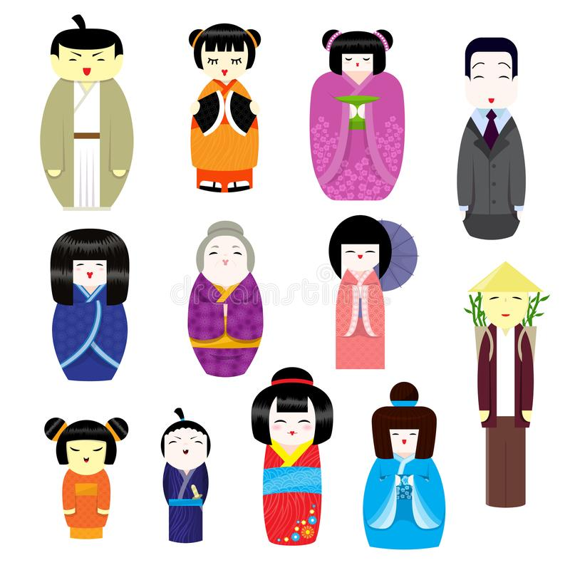 Geishaen in för teckenet för flickan för den japanska Kokeshi dockavektorn ställde den härliga i kvinnlig traditionell kimonoillu stock illustrationer