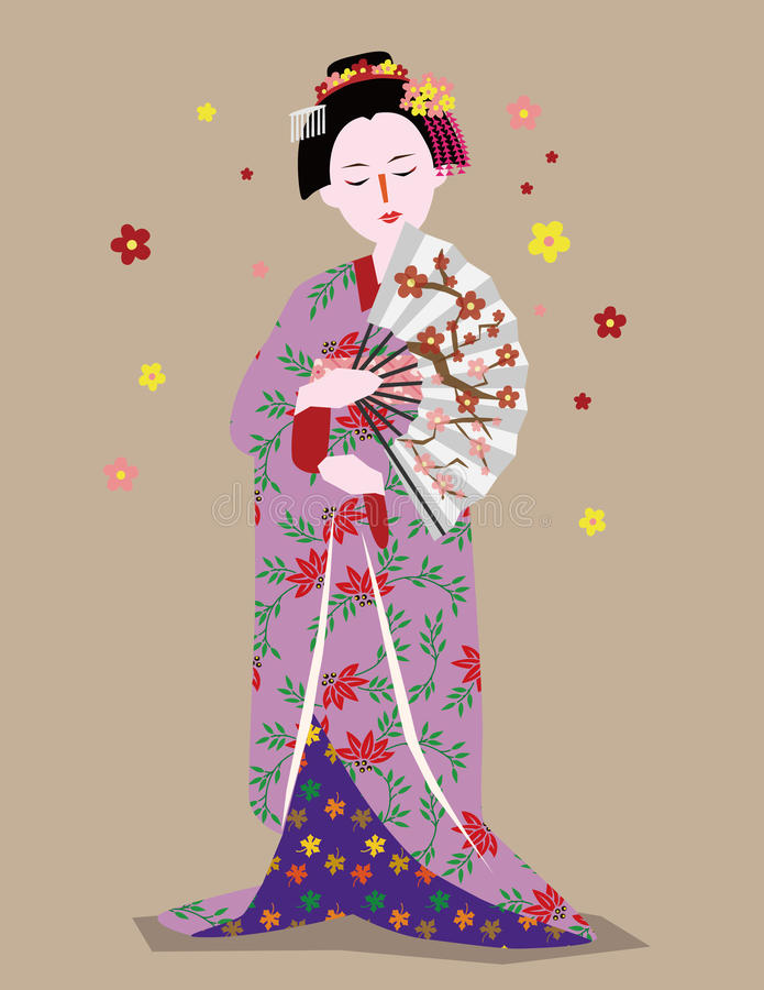 geishaflicka royaltyfri illustrationer