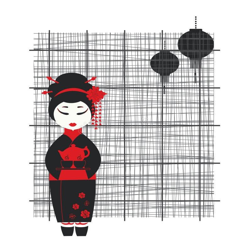Geishamädchen. Tezeremonie lizenzfreie abbildung