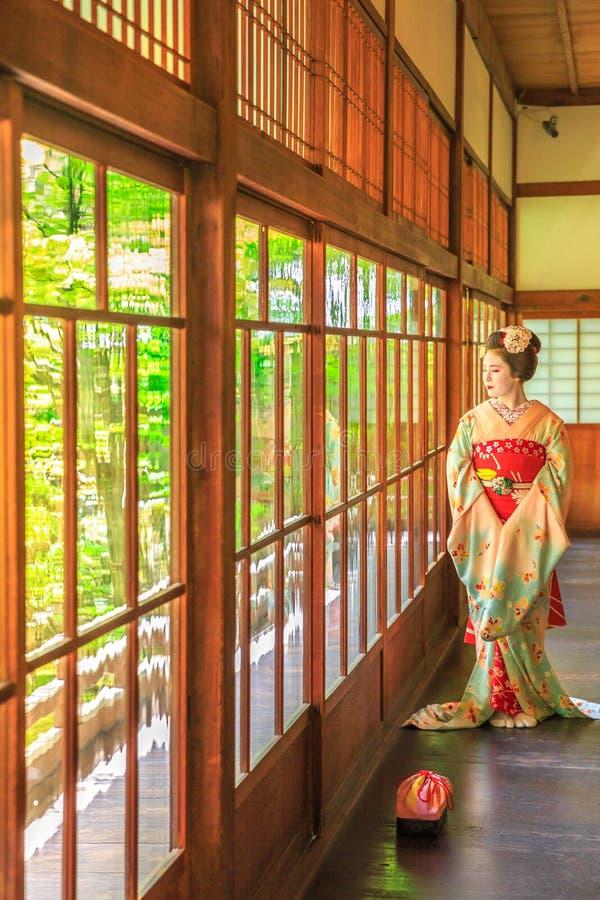 Geishamake-up Kyoto stockfotos