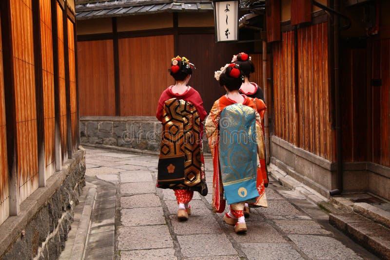 geishas tre arkivbilder