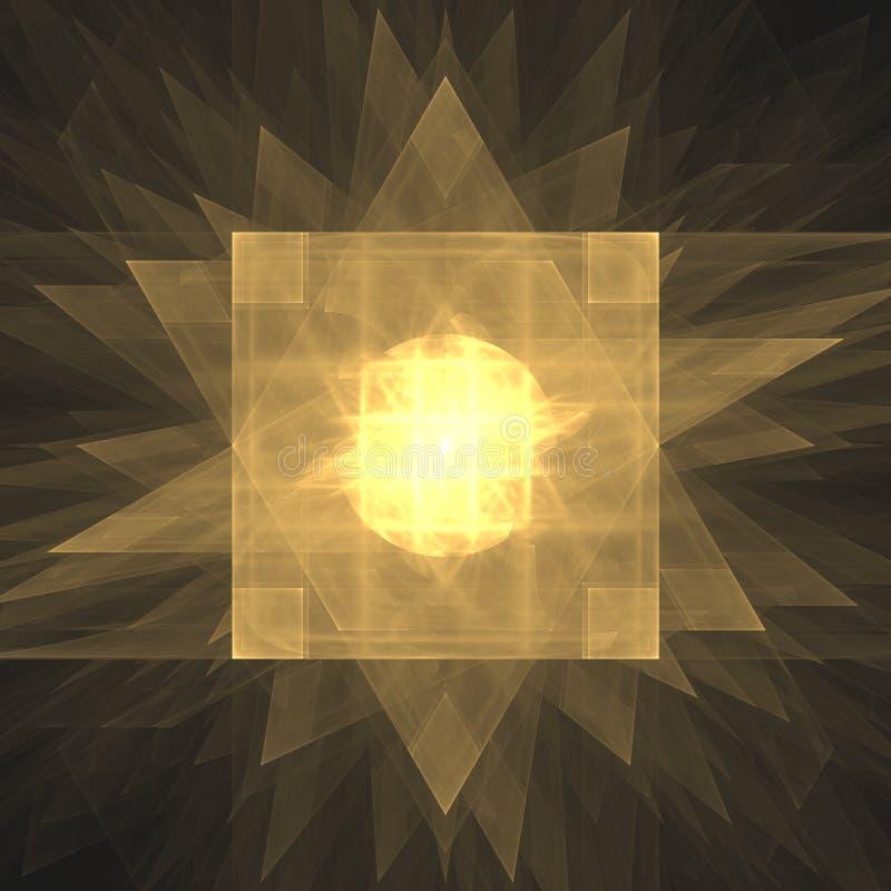 Geist des goldenen Phoenix | Fractal Art Background Wallpaper stock abbildung