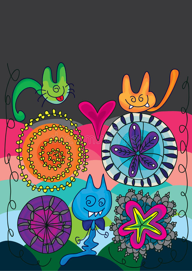 Geist-Katze-Blume glückliches Halloween_eps lizenzfreie abbildung