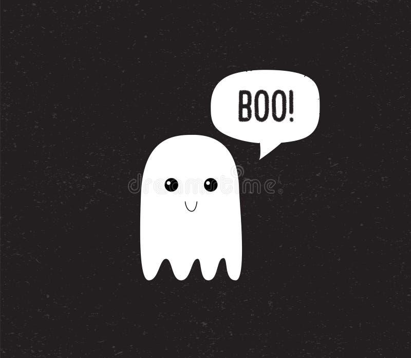 Geist-netter Halloween-Geist mit Spracheblase buh Vektor vektor abbildung