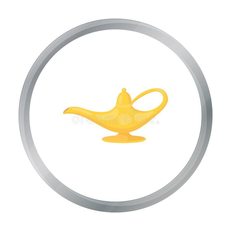 Geister ` s Lampenikone in der Karikaturart lokalisiert auf weißem Hintergrund Magische Symbolvorrat-Vektorschwarzweiss-illustrat stock abbildung
