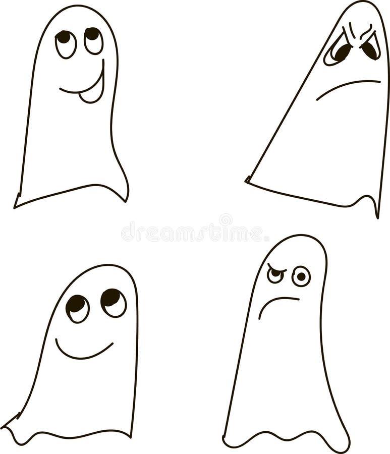 Geister, Schwarzweiss, zeichnend, Gefühle: Verwirrung, träumend, Betrug, Trübsinn, Zweifel, Misstrauen, Scheuheit, Halloween lizenzfreie abbildung