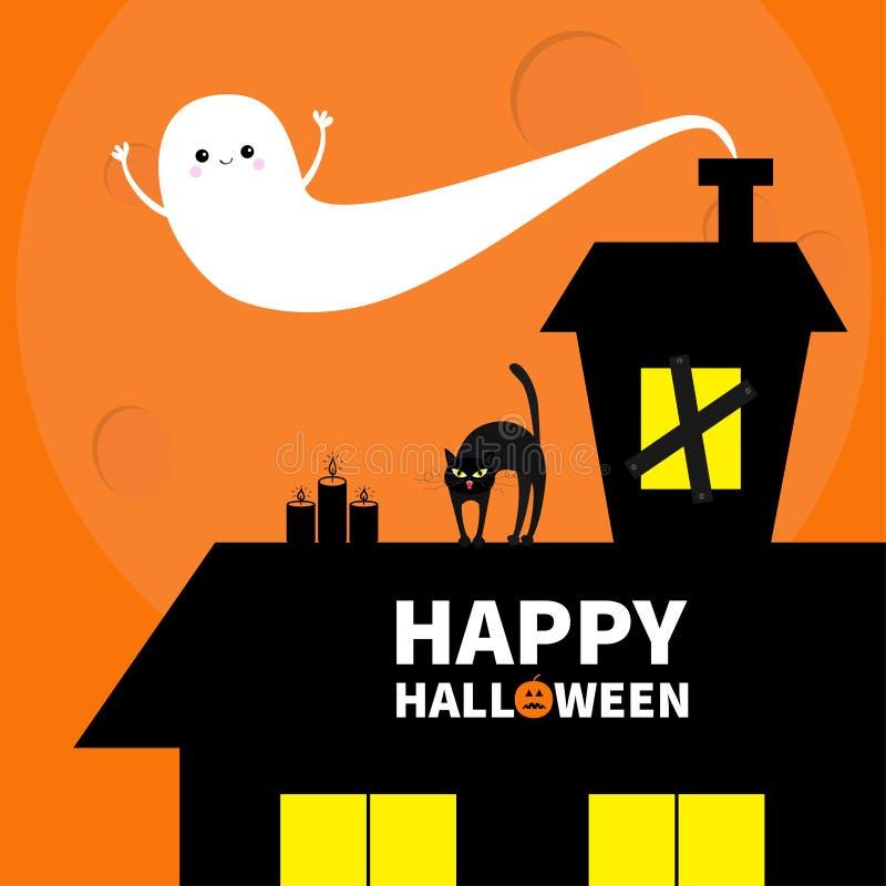 Geisterhausdach-Dachbodendachboden Licht auf verschalten-oben Fenstern Katzenbogenrückseite Fliegengeist Kürbis-Kerzen Glückliche vektor abbildung