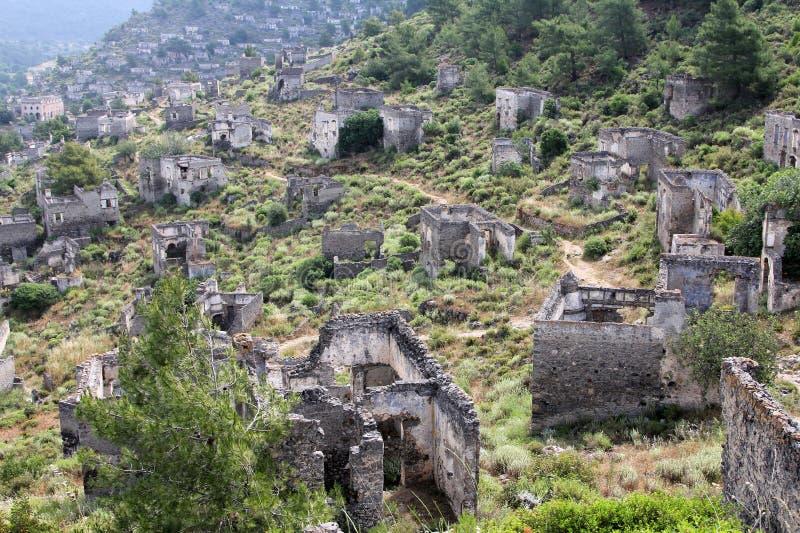 Geisterstadt von Kayakoy die Türkei stockbilder