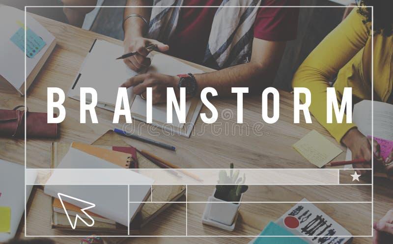 Geistesblitz-Brainstorming-denkende Sitzungs-Planung, die Conce teilt stockbilder