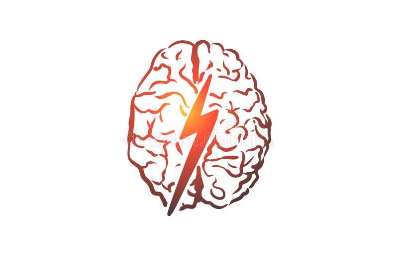 Geistesblitz, kreativ, Gehirn, Verstand, Energiekonzept Hand gezeichneter lokalisierter Vektor lizenzfreie abbildung