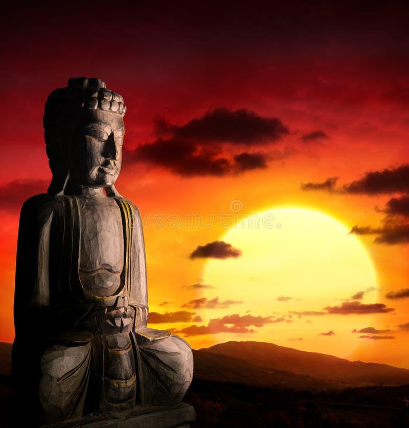 Geistiger Hintergrund der asiatischen Kultur mit Buddha stockfotos