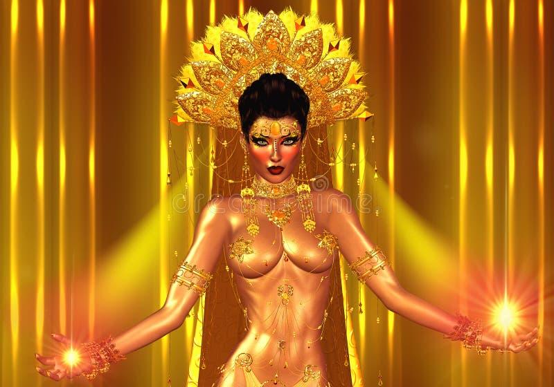 Geistiges Licht kommt von den Händen dieser magischen Asiatin Goldjuwelen schmücken ihren Körper und ein Federkopfkleid lizenzfreie abbildung