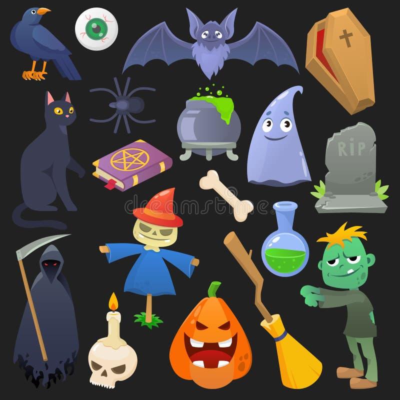 Geistkatzen- oder Horrorzombieillustrationssatz des gespenstischen Kürbises Halloween-Vektors furchtsamer des Karikaturspinnensch vektor abbildung