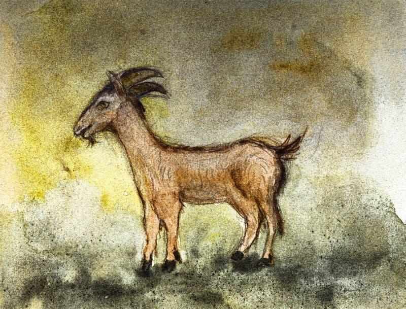 Geit op een rustieke manier wordt geschilderd die royalty-vrije illustratie