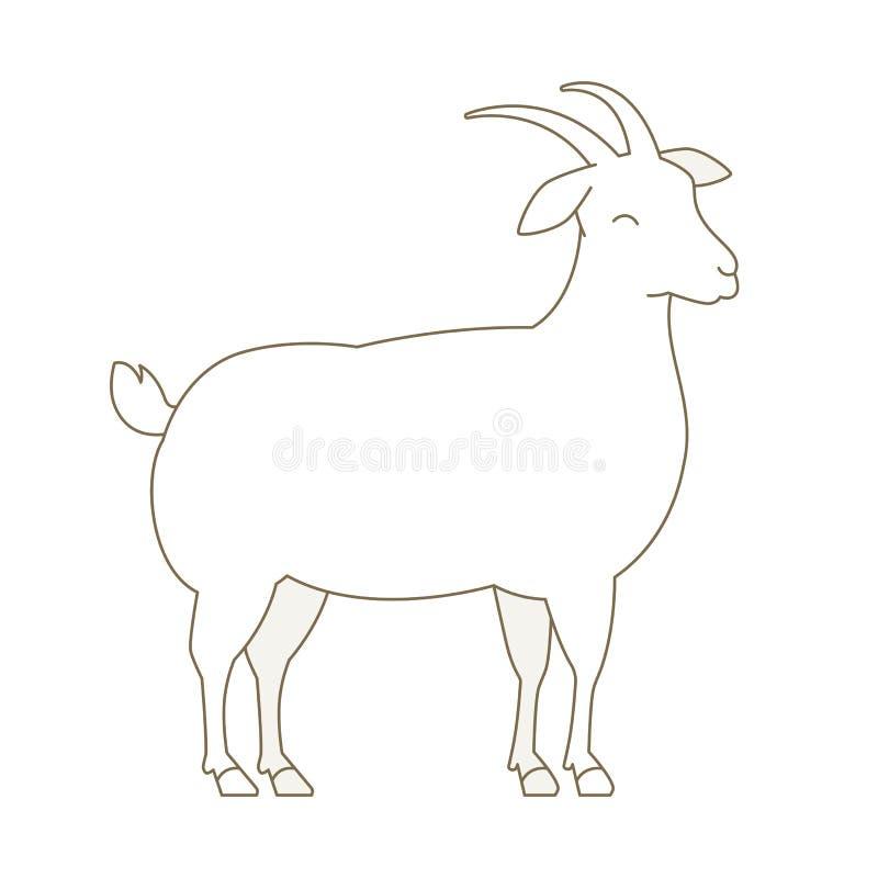 Geitdier Wit gehoornd pluizig lam Wolproductie lijnstijl De vectorillustratie van de overzichtscontour stock illustratie