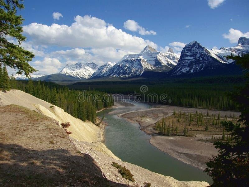 Geiten en Gletsjers het Gezichtspunt die Athabasca-dichtbijgelegen Riviervallei overzien zet Fryatt, Jasper National Park, Albert stock foto