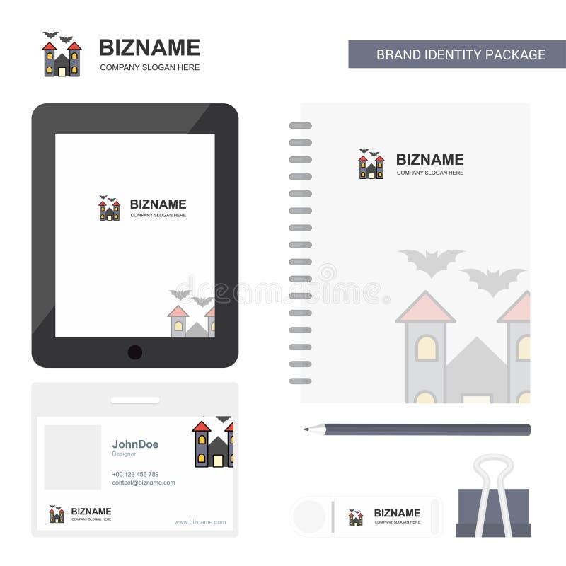 Gejagtes Haus Geschäfts-Logo, Tab App, Tagebuch PVC-Angestellt-Karte und USB-Marken-stationäre Verpackungsgestaltungs-Vektor-Scha vektor abbildung