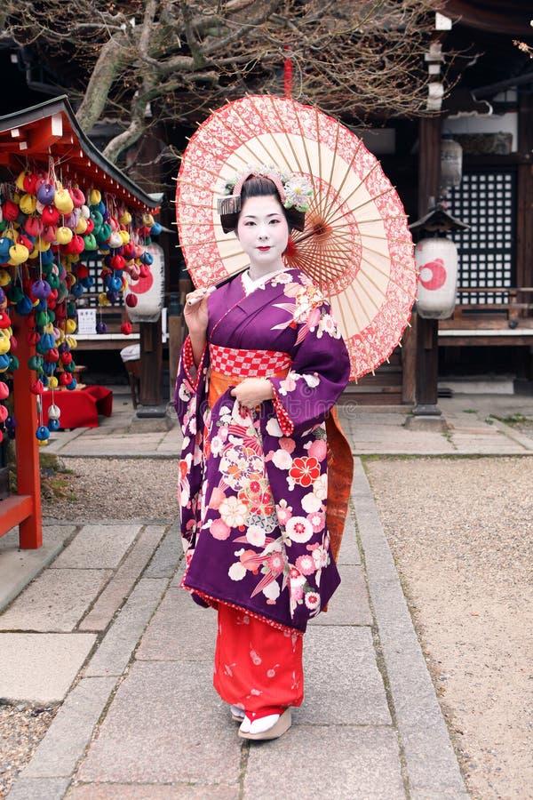 Gejsza w kimonie i parasolu obrazy royalty free