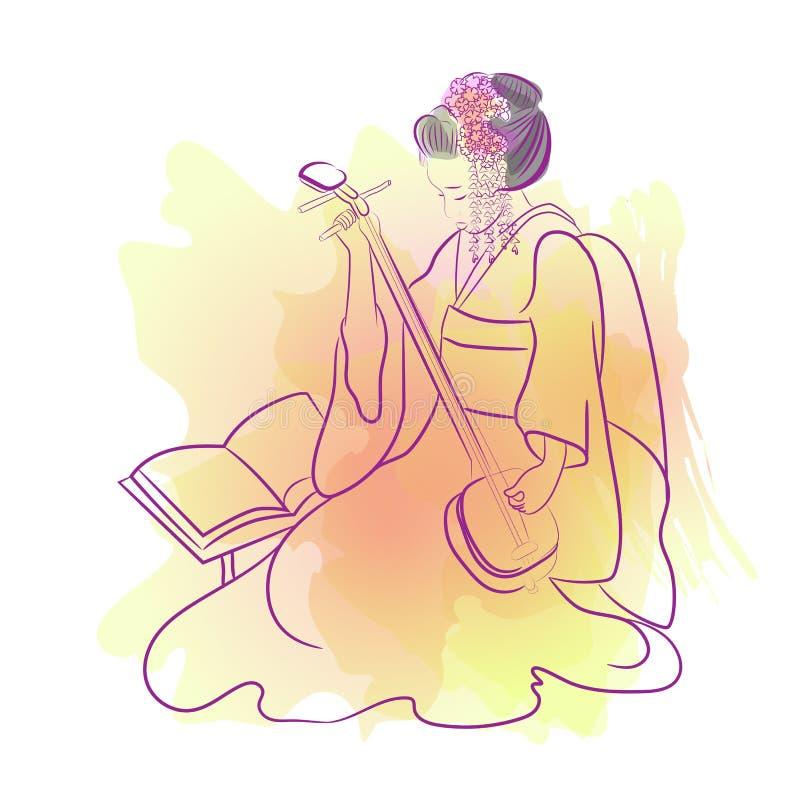 Gejszy Japonia kobiety akwareli klasyczny Japoński styl rysunek Bawić się japońskiej dziewczyny royalty ilustracja