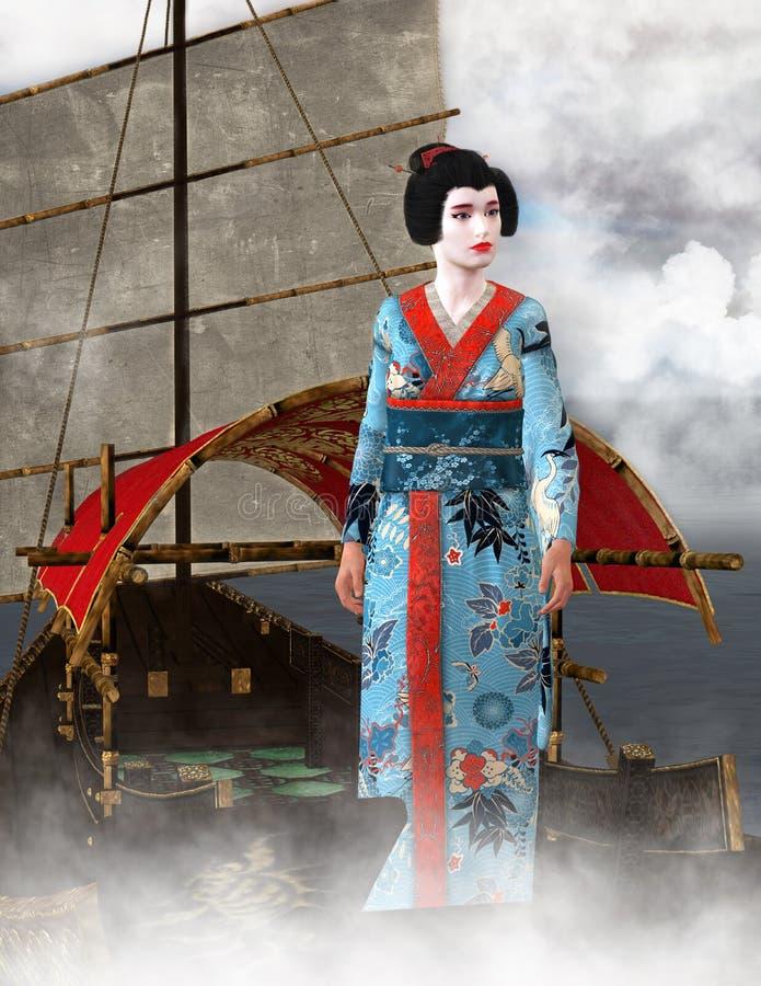 Gejszy kobieta, sampan łodzi ilustracja royalty ilustracja