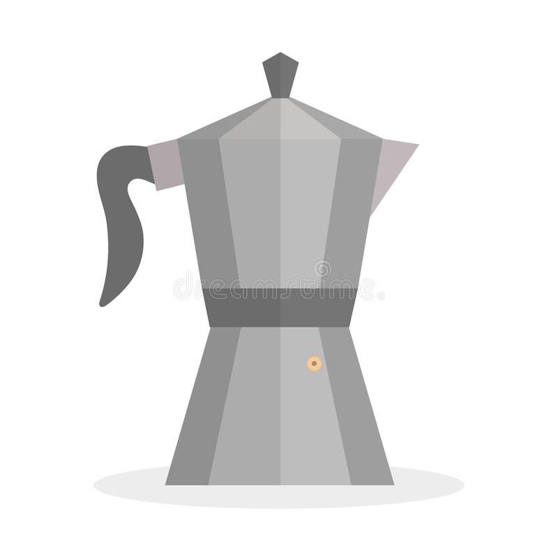 Gejzer kawowa ikona, mieszkanie styl Gejzer kawowa ikona odizolowywająca na białym tle Gejzer ikony projekta kawowy element, logo ilustracja wektor