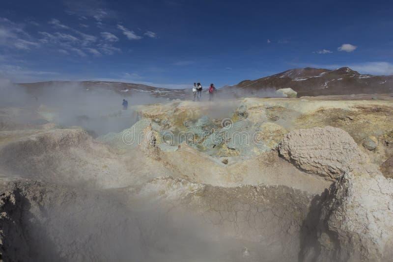 Gejzeru geotermiczny teren Zol De Manana w Eduardo Avaroa Nationa zdjęcie royalty free