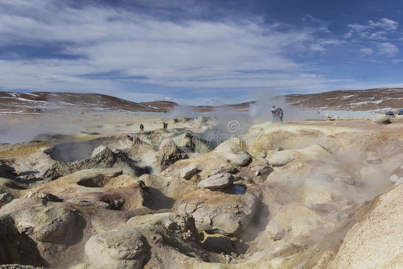 Gejzeru geotermiczny teren Zol De Manana w Eduardo Avaroa Nationa zdjęcia royalty free
