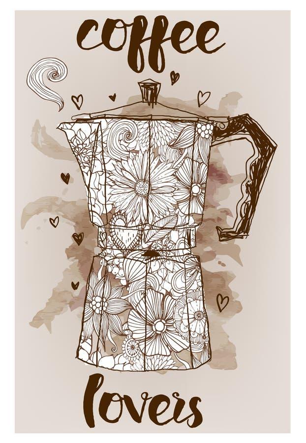 Gejzeru kawowy producent royalty ilustracja