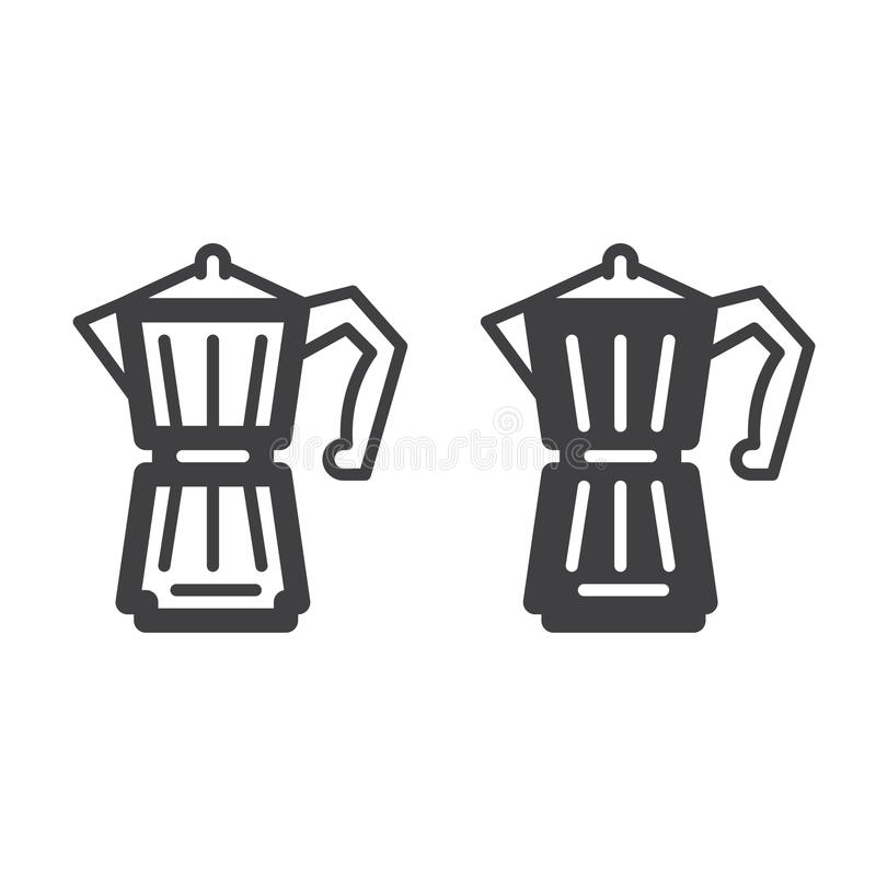 Gejzeru Kawowy producent kreskowy, stała ikona, kontur i piktogram odizolowywający na bielu, wypełniający wektoru znaka, linioweg ilustracji