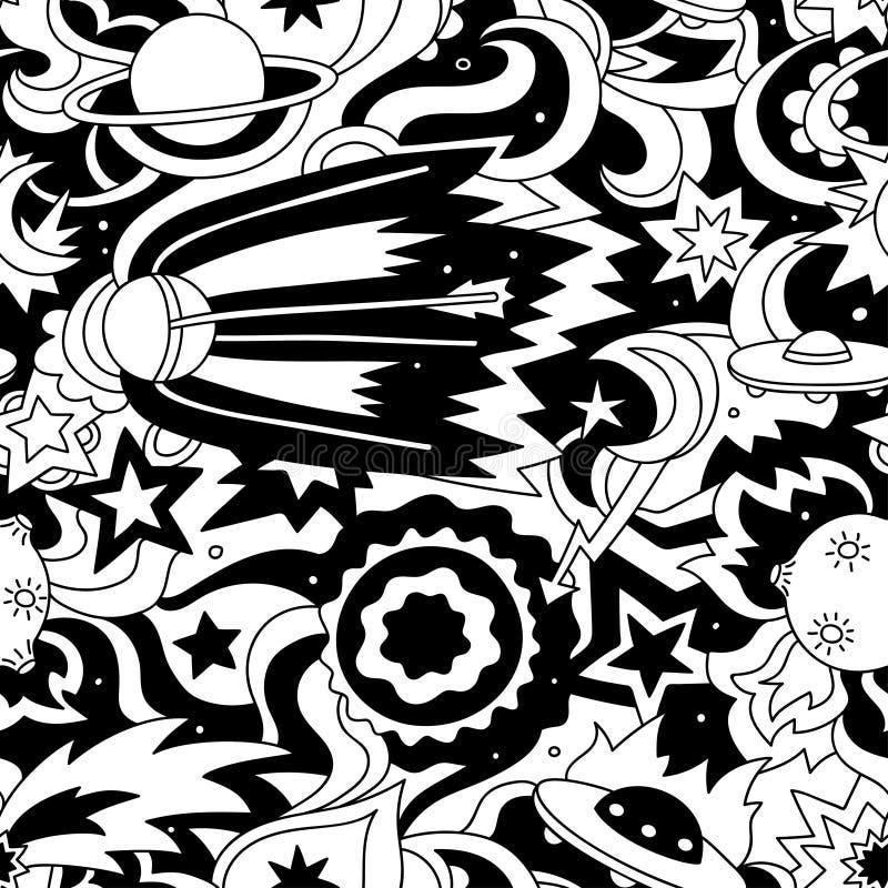 Gek beeldverhaal naadloos patroon met satelliet, planeten, sterren stock illustratie