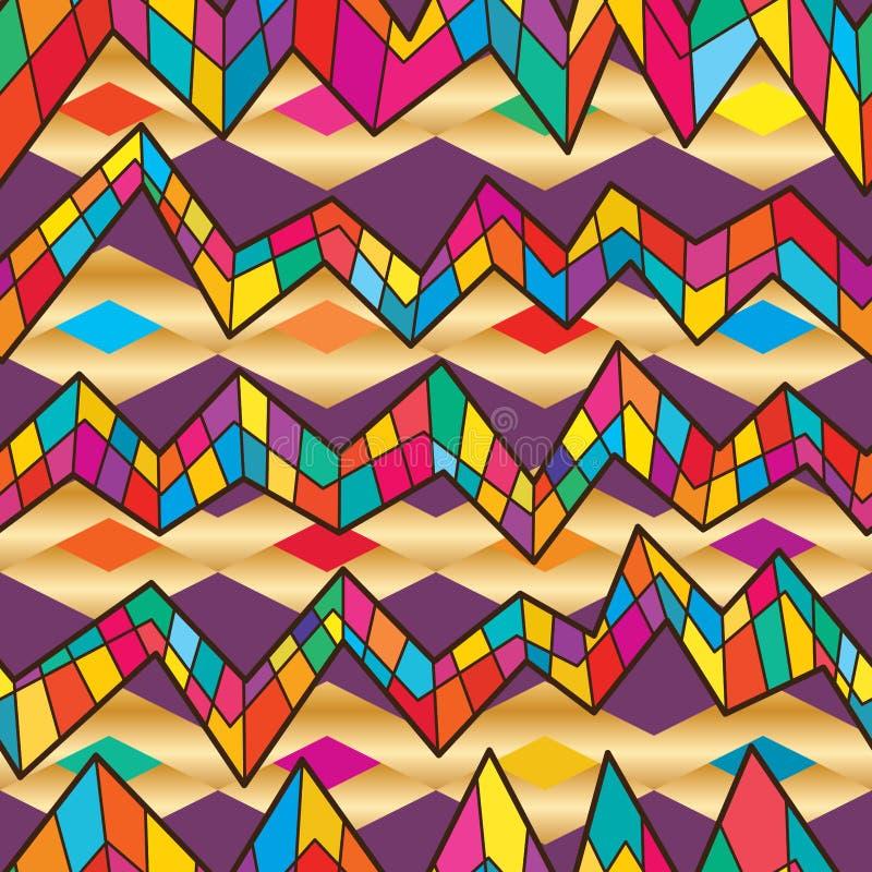 Gek colorul naadloos patroon van de lijnchevron stock illustratie