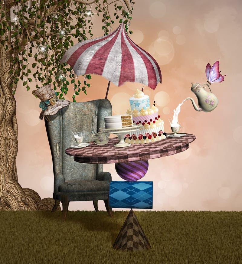 Gek hoedenmakerbanket stock illustratie