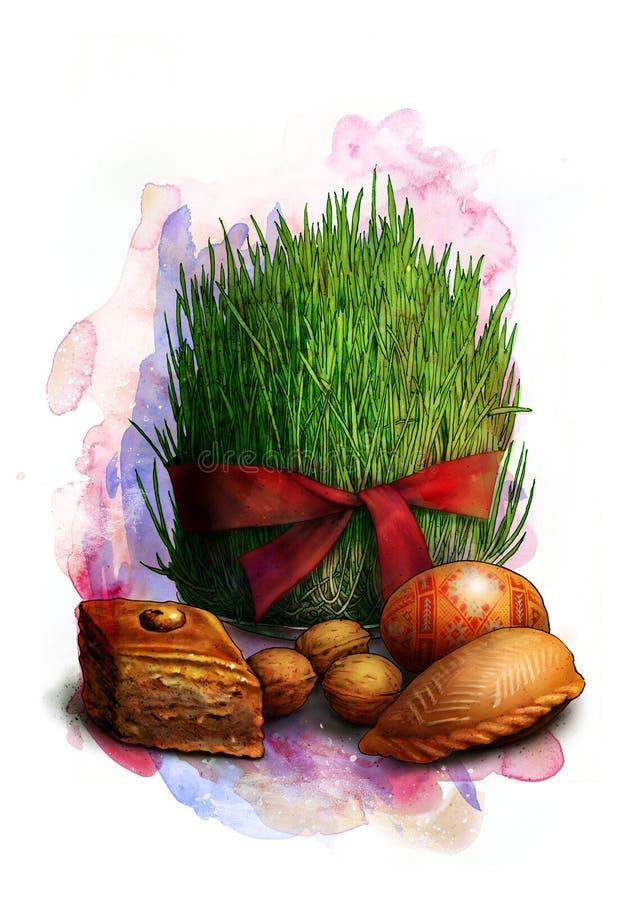 Gekeimte Samen mit rotem Band, ein traditionelles Symbol von Novruz Bayram - semeni, mit Plätzchen, Walnüssen und gemaltem Ei, Sk lizenzfreie abbildung