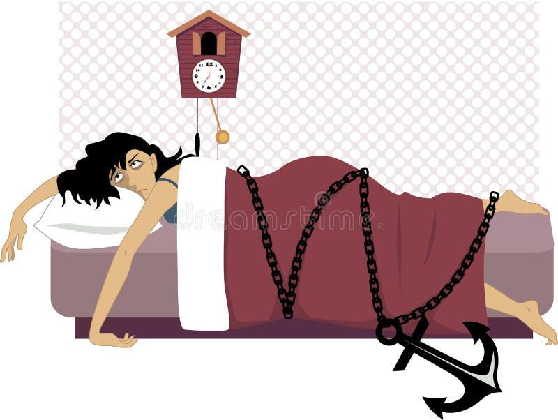 Geketend aan een bed stock illustratie