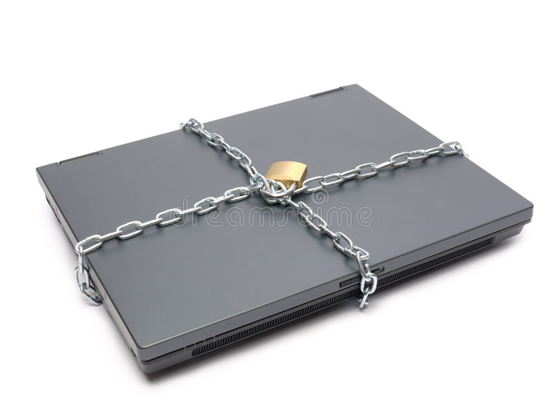 Geketende laptop stock afbeelding