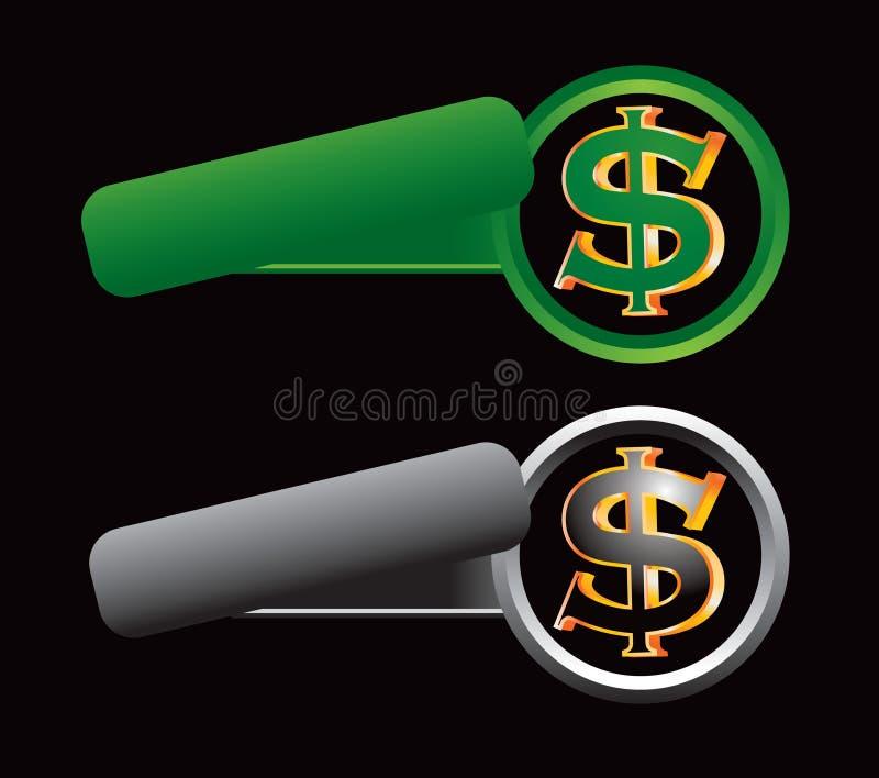 Gekippte grüne und graue Fahnen mit Dollarzeichen lizenzfreie abbildung