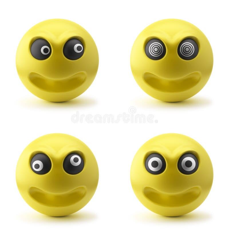 Gekke 3D Smileys stock illustratie