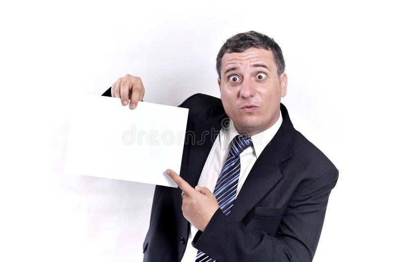 Gekke bedrijfsmens met een document in handen stock afbeeldingen