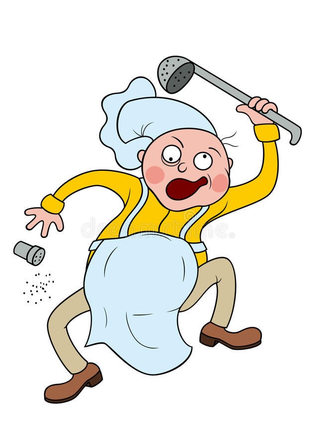 Gekke Chef-kok stock illustratie