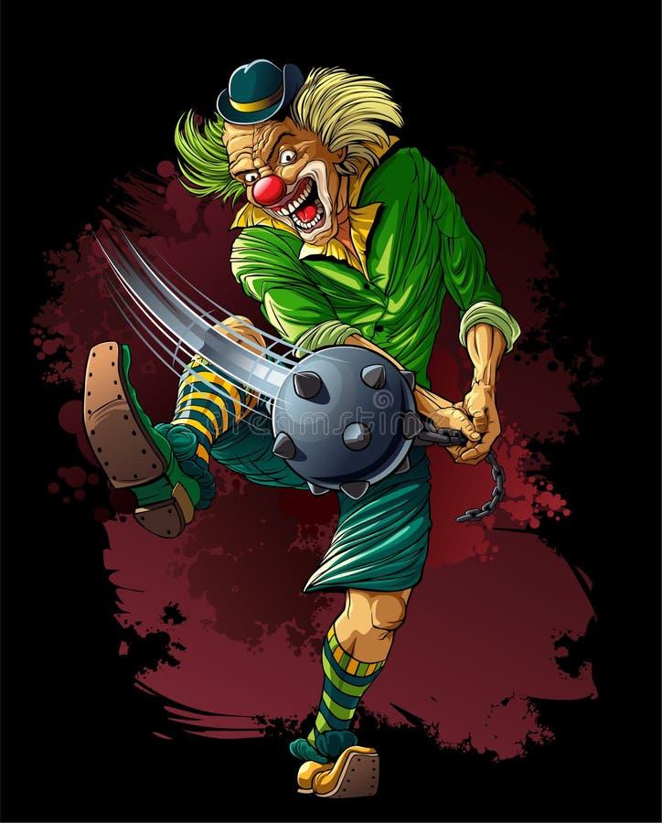 Gekke clownmoordenaar met knuppel vector illustratie