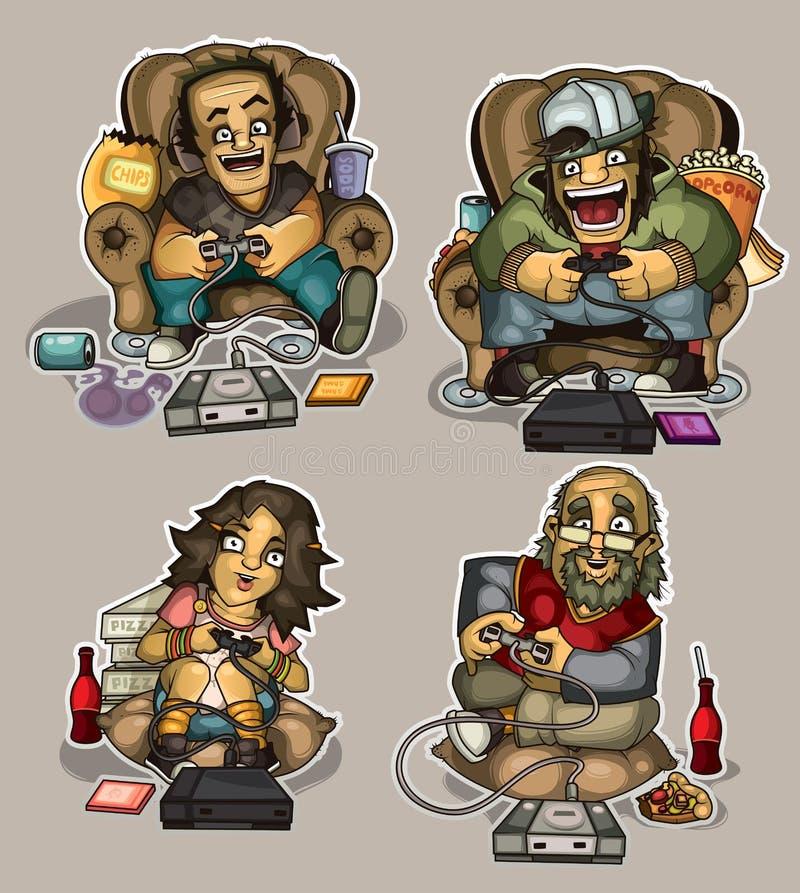 Gekke gamers stock illustratie