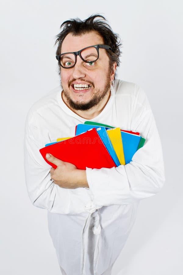 Gekke gelukkige nerd royalty-vrije stock foto