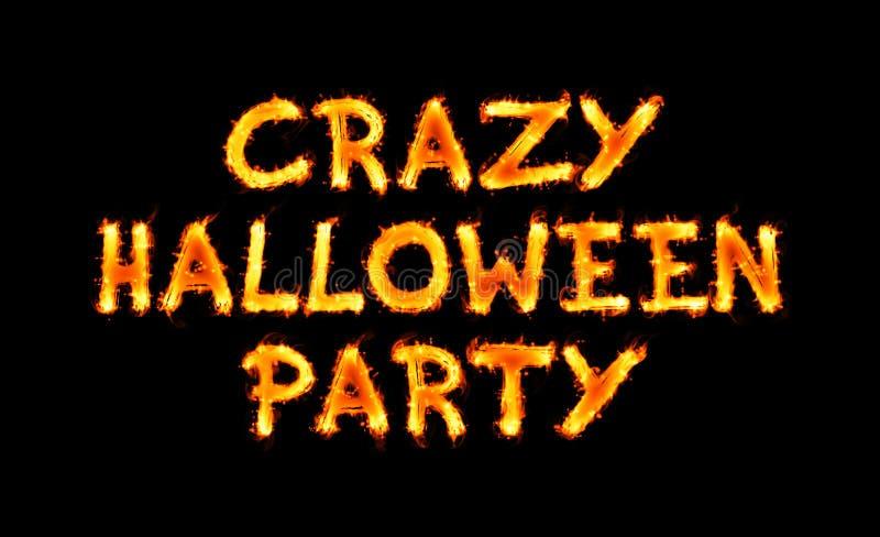 Gekke Halloween-partij vurige inschrijving op zwarte vector illustratie