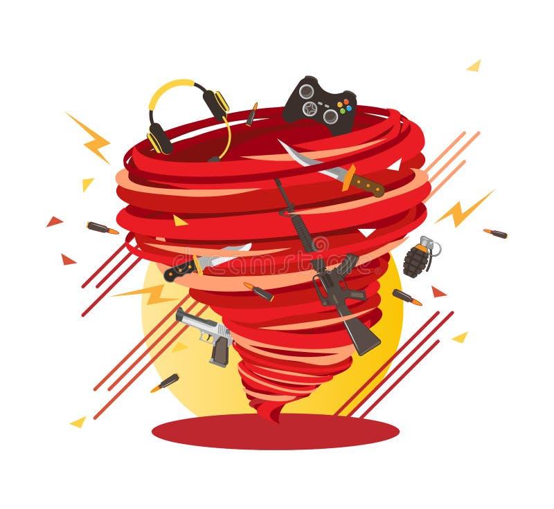 Gekke Harde Kern gamer werveling, gekke gokkenorkaan vector illustratie