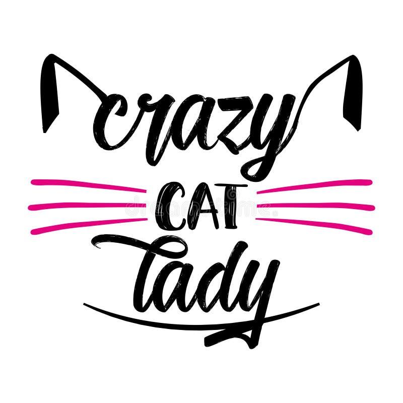 Gekke kattendame - grappig citaatontwerp stock illustratie