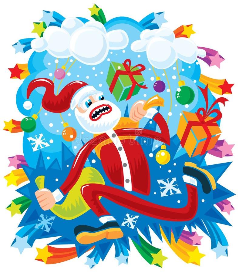 Gekke Kerstman in een haast stock illustratie